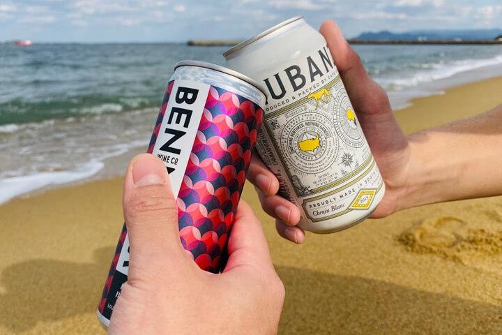 海で楽しむ缶ワイン