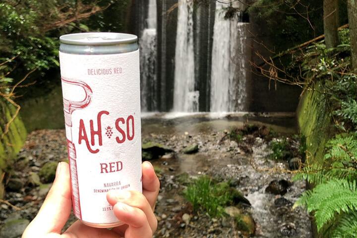 滝をバックに缶ワイン